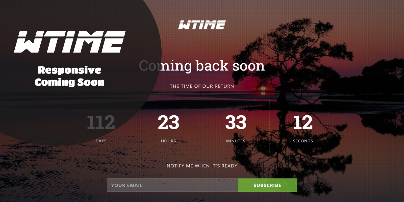 WTime - Responsive Coming Soon Template