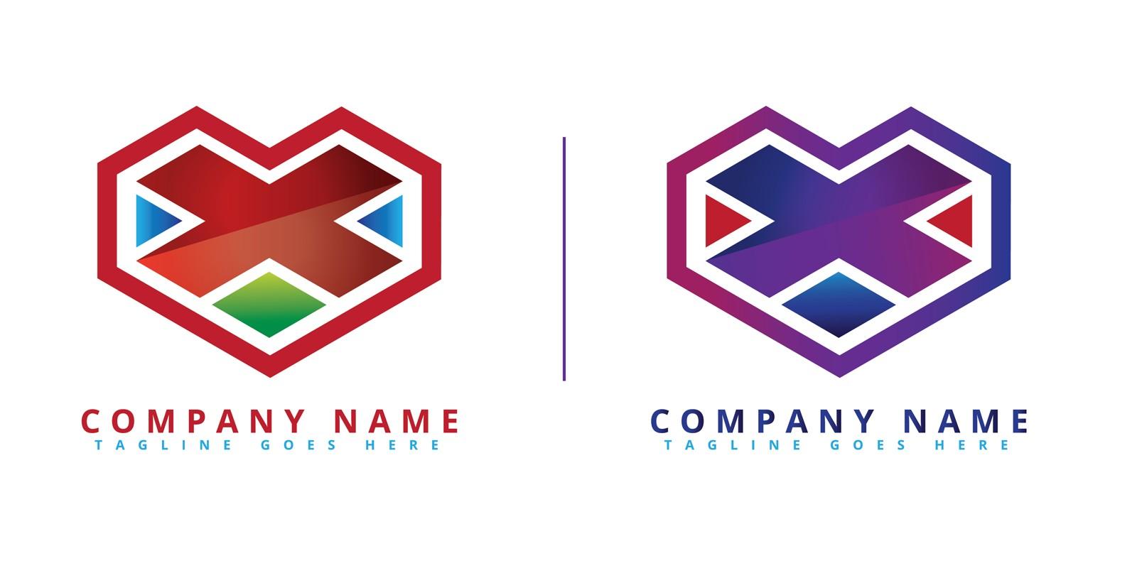 X Heart Logo Vector
