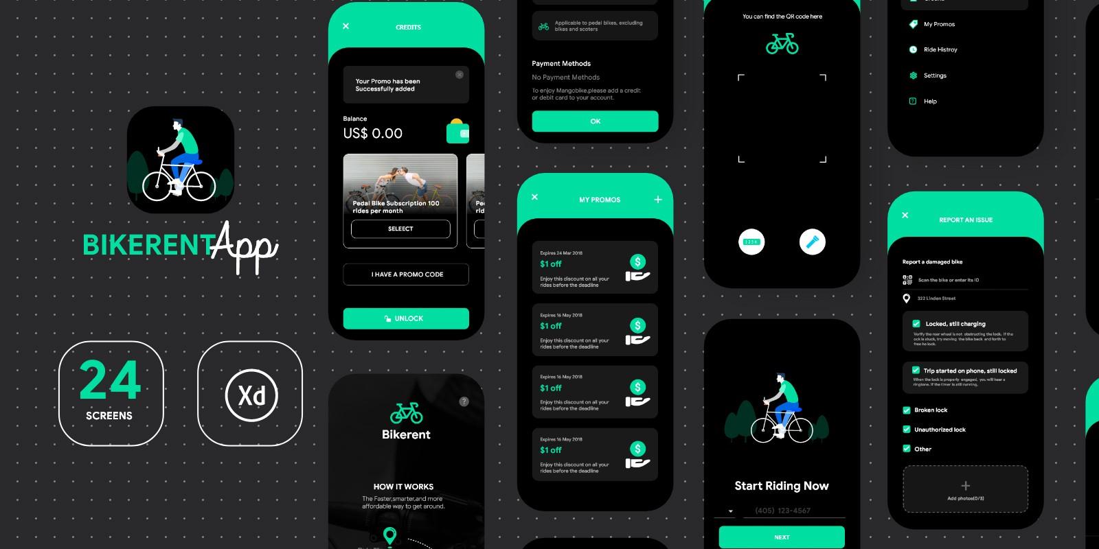 Bike Rental App UI - Modern Design