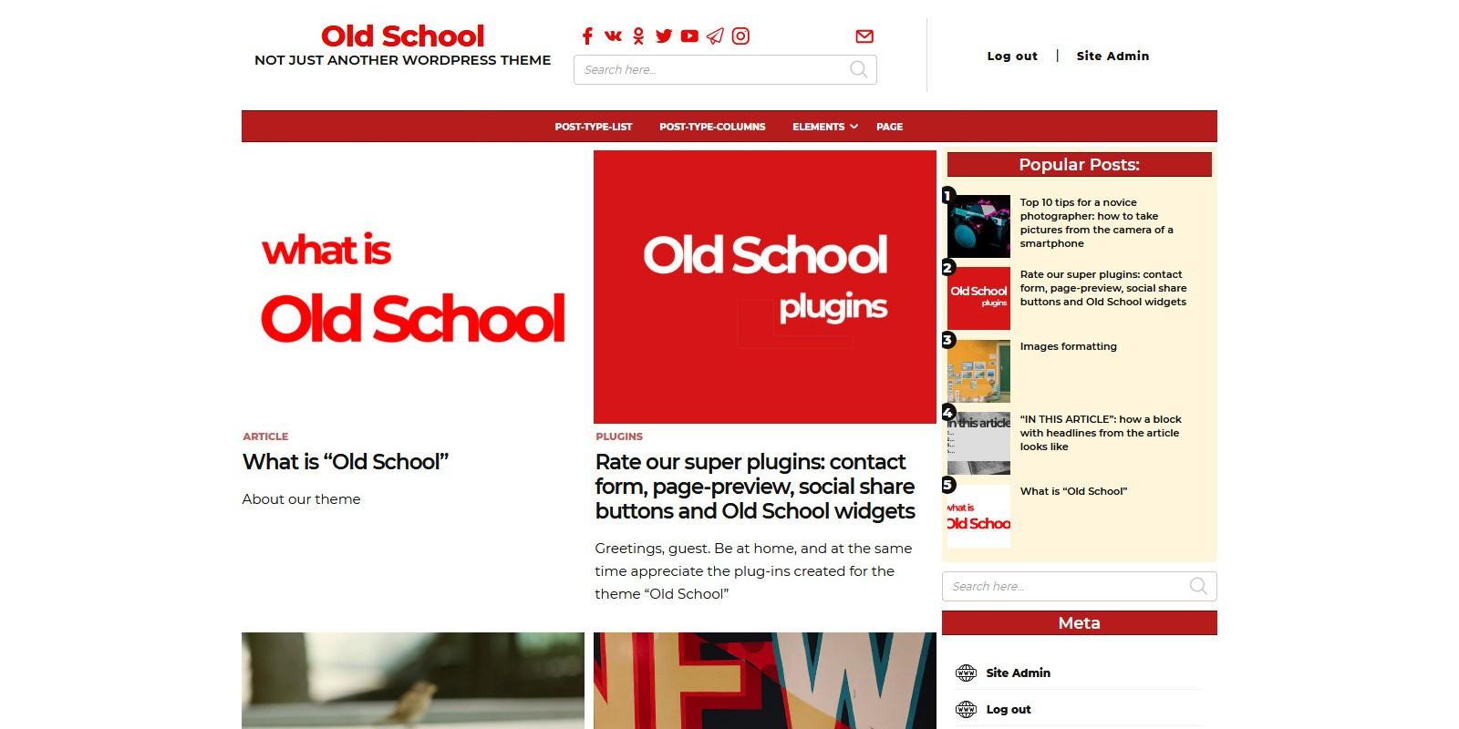 Old School - Modern Blog WordPress Theme