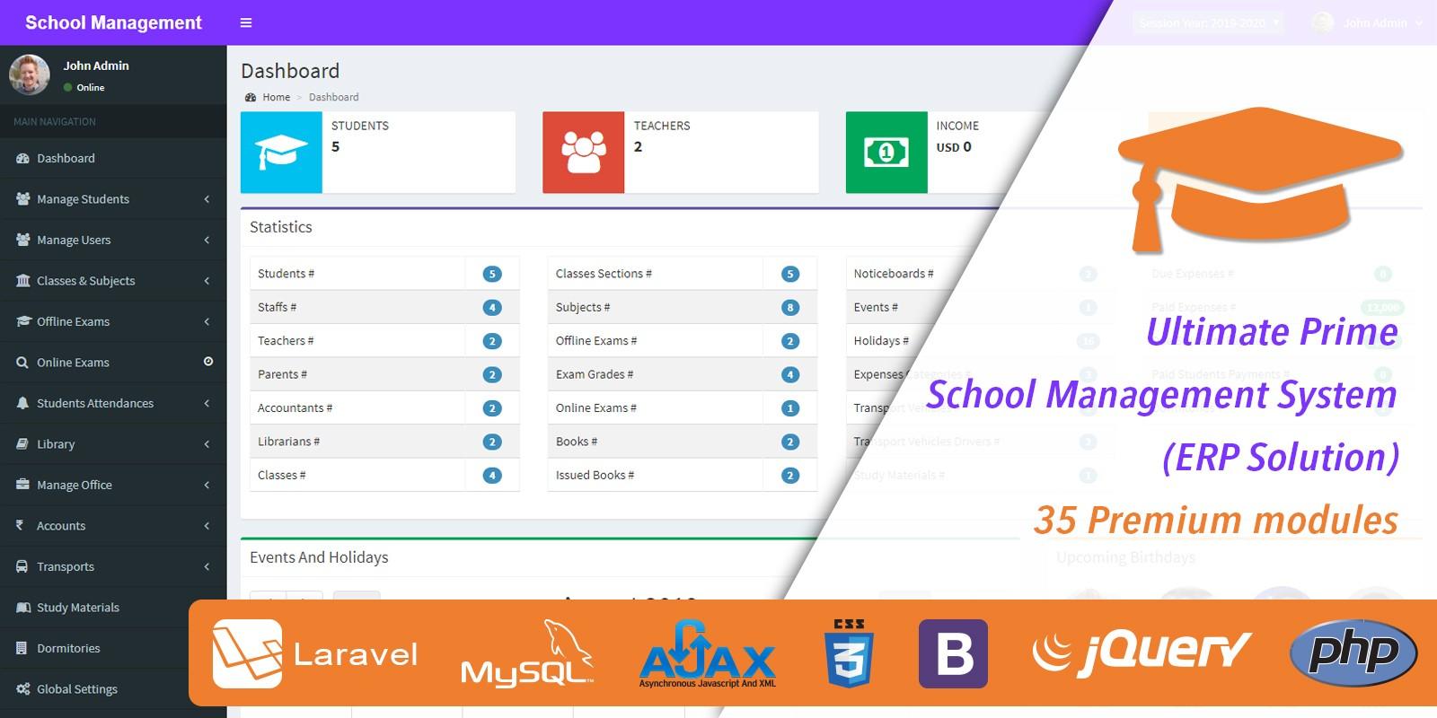 Ultimate Prime School Management System Script