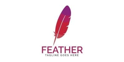 Feather Elegant Pen Logo Design