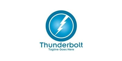 Circle Lightning Bolt Logo Design