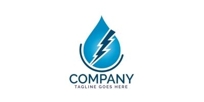 Water Drop And Lightning Bolt Logo Design