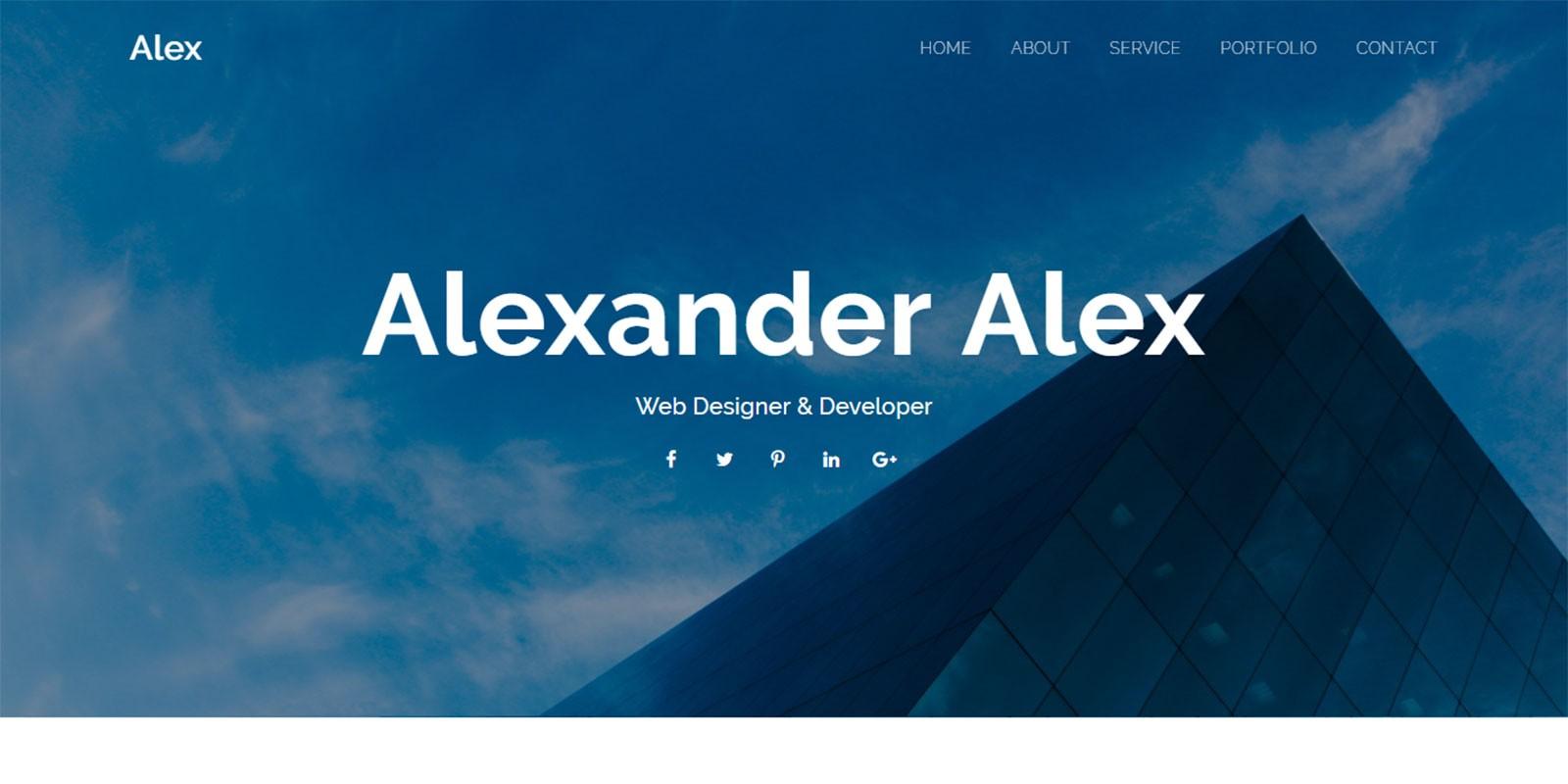 Alex Personal Portfolio Template