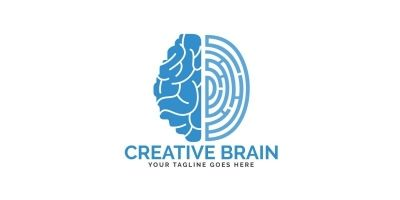 Brain and Fingerprint Logo Design