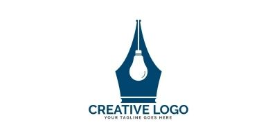 Pen Nib And Bulb Logo Design