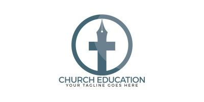 Church Education Vector Logo Design