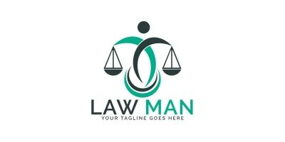 Law Man Vector Logo Design