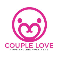 Couple Love Vector Logo Design