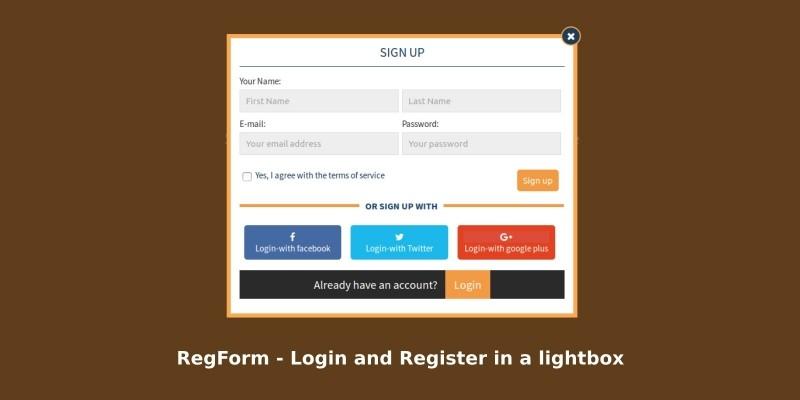 RegForm - Login And Register In A Lightbox