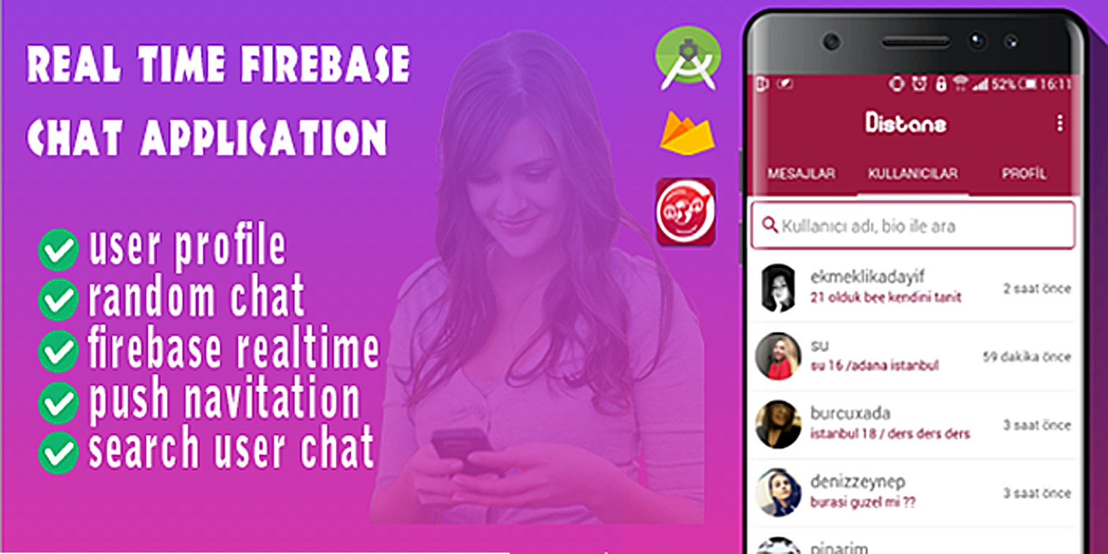 Distanz - Realtime Firebase Chat Android