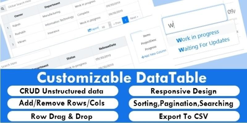 Customizable Editable Datatable jQuery