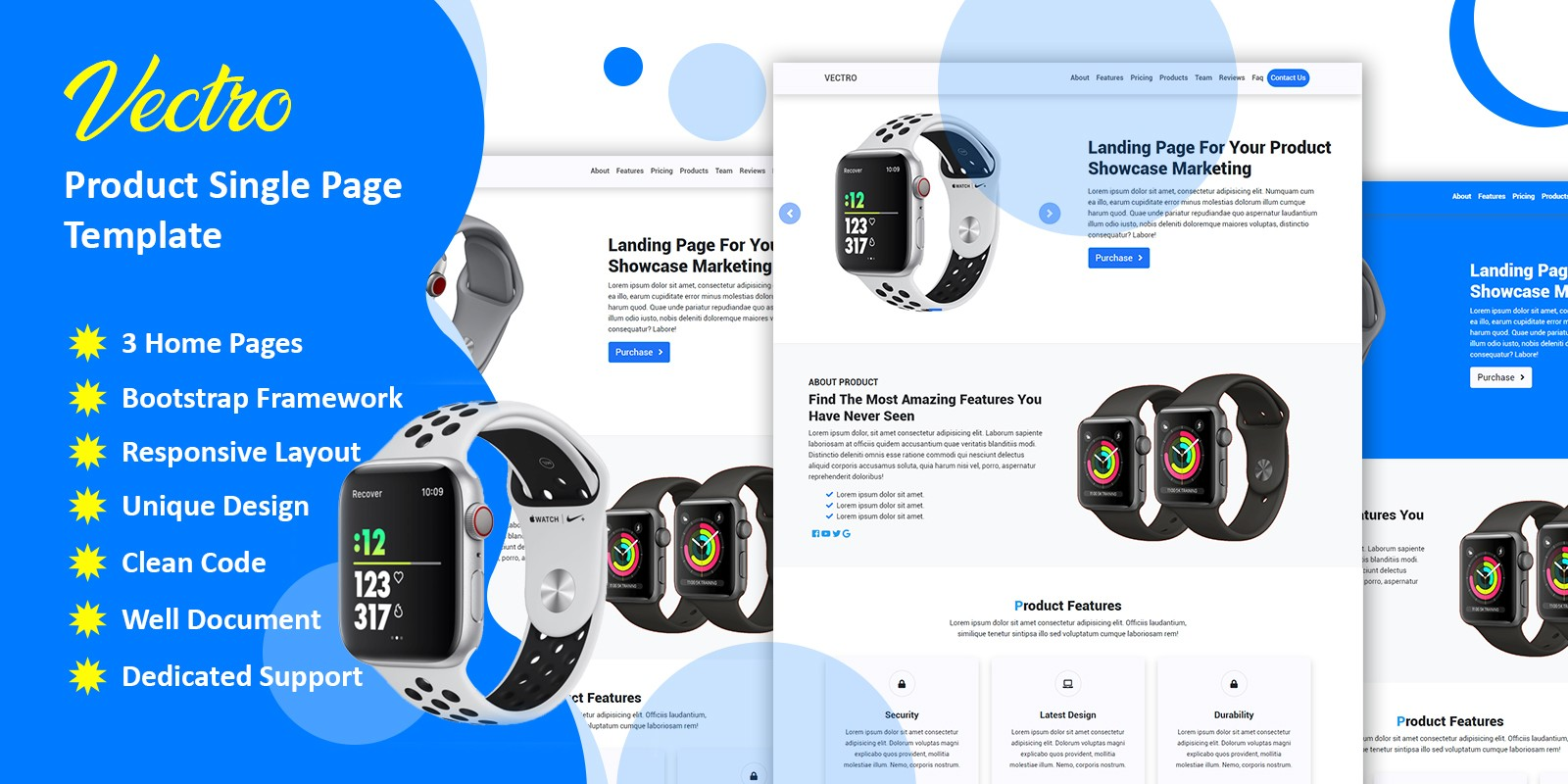Vectro Product HTML Landing Page