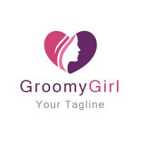 Girl in Heart Shape Logo