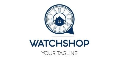 Home in Clock Shape Logo