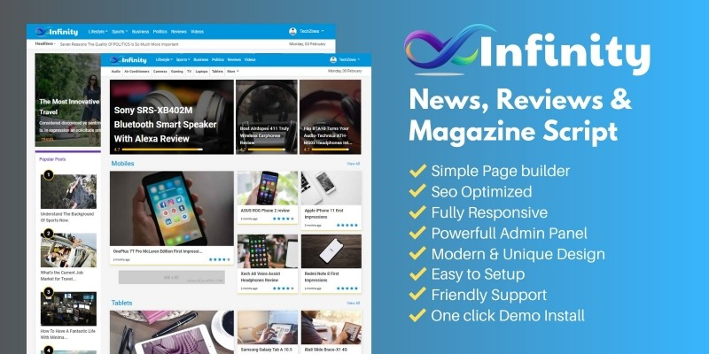Infinity - News Reviews And Magazine Script