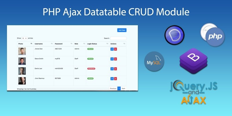 PHP Ajax Datatable CRUD Module