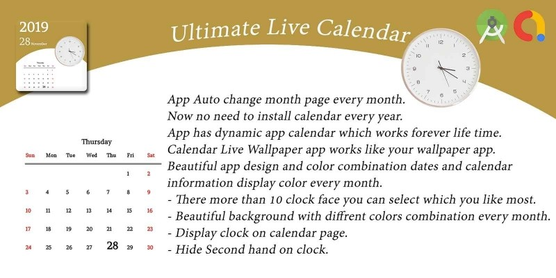 Ultimate Live Calendar Wallpaper Android Template