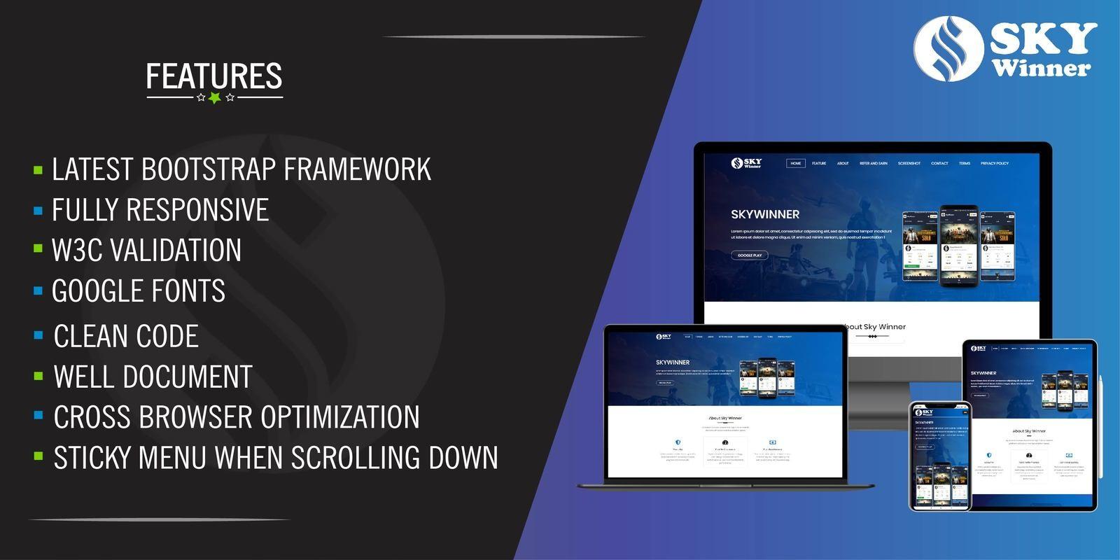SkyWinner  - Website Landing Webpage PHP
