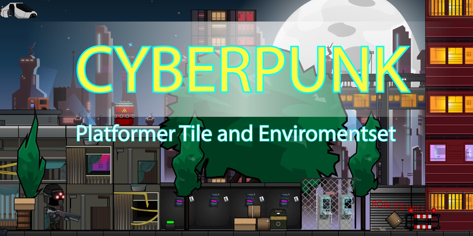 Cyberpunk Platformer Game Tile and Enviromentset