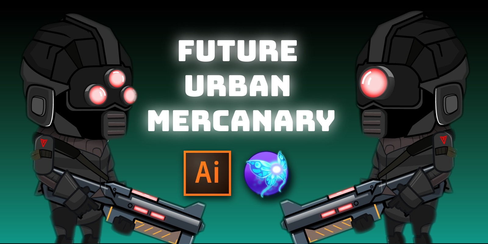 Future Urban Mercenary 2D Character Sprites