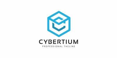 Cybertium C Letter Hexagon Logo