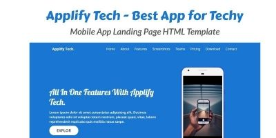 Applify Tech - Mobile App Landing Page HTML Templa
