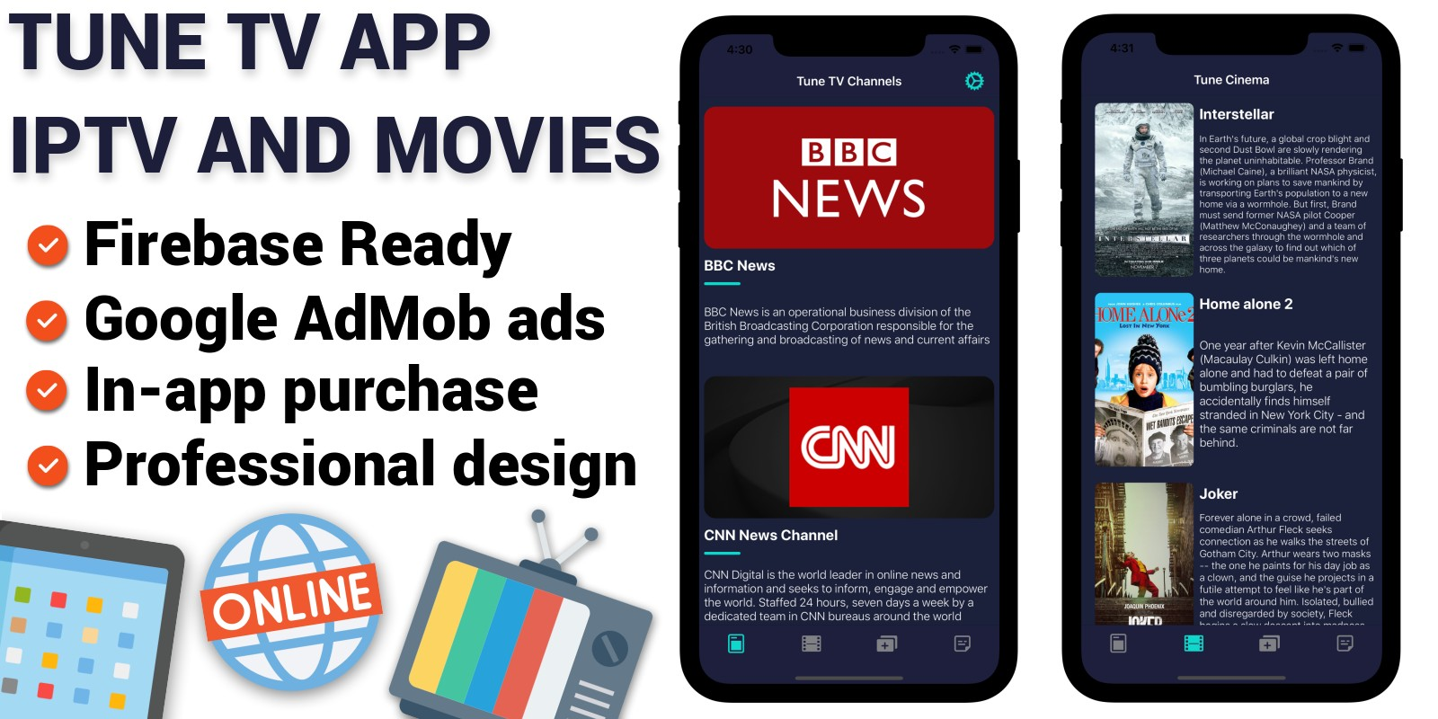 Tune TV - IPTV And Movies iOS Application