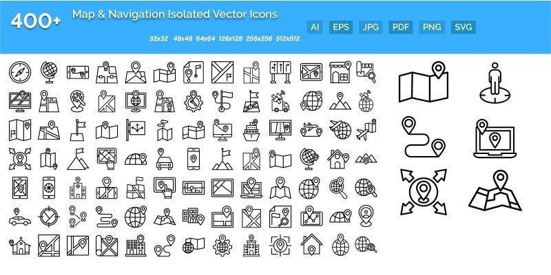 100 Map and Navigation Icons