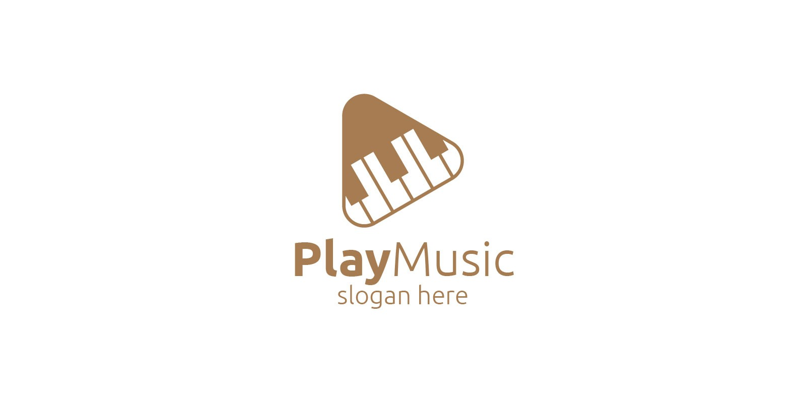 Music Logo with Piano and Play Concept