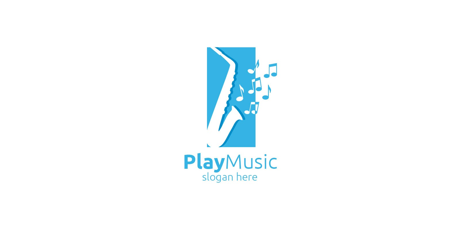 Saxophone Music Logo Design with Square Concept