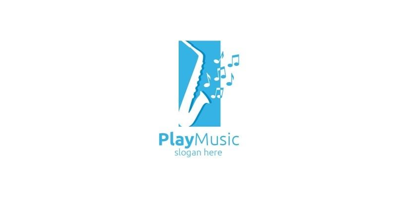 Saxophone Music Logo Design with Square Concept