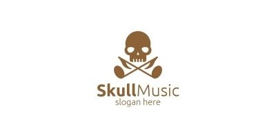 Skull Music Logo with Note and Skull Concept