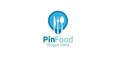 Pin Food Logo Template for Restaurant or Cafe