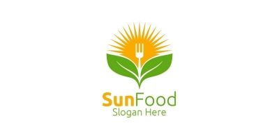 Sun Food Restaurant or Cafe Logo