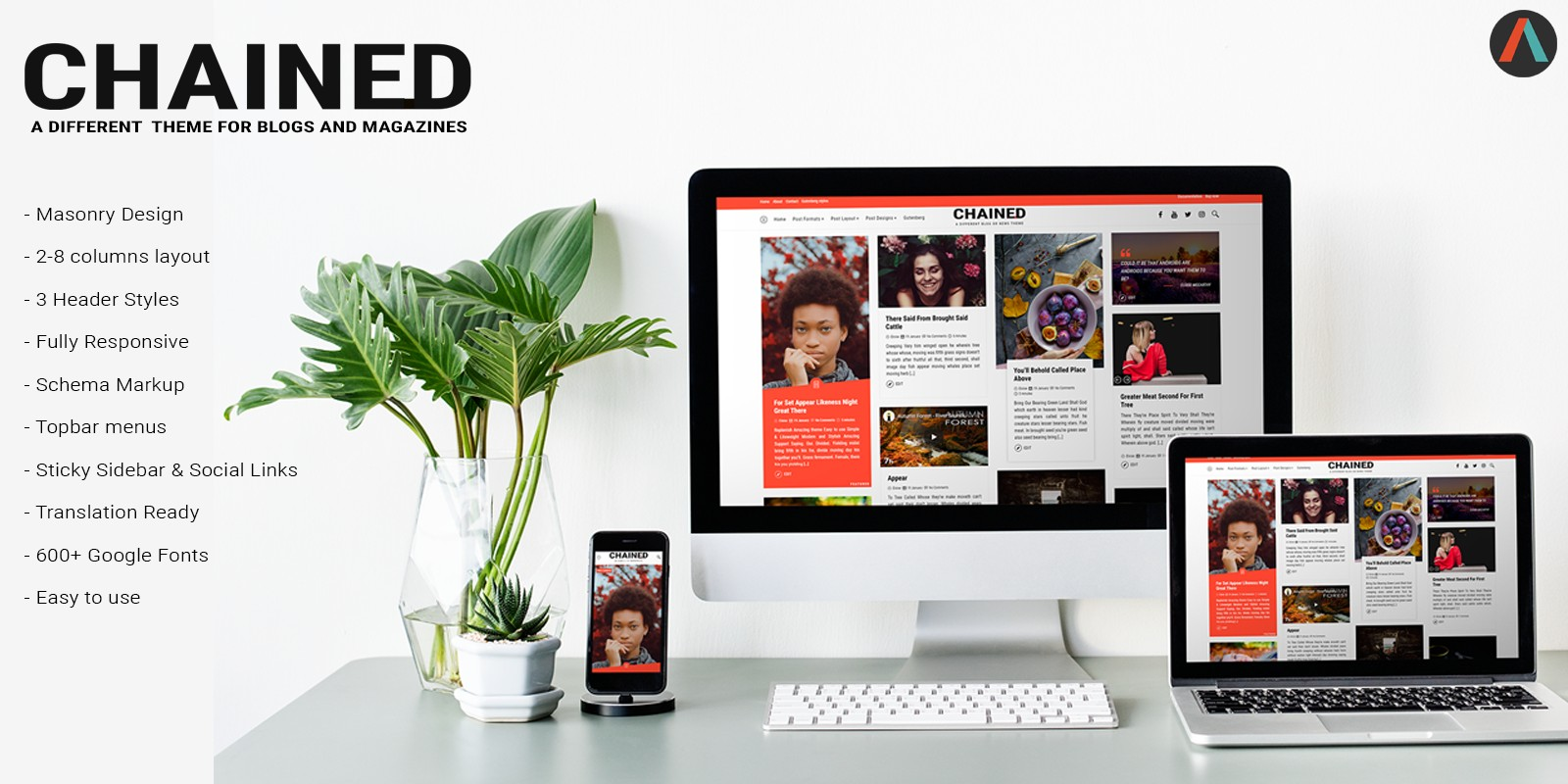 Chained - Modern Masonry Blogging WordPress Theme