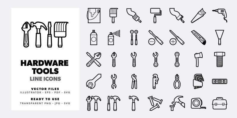 35 Hardware Tools Line Icons Set