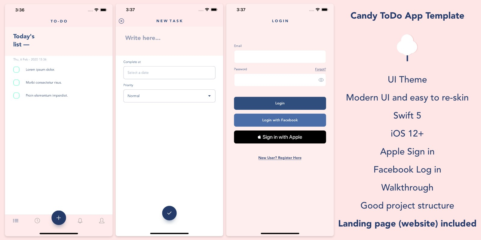 Candy ToDo - iOS Template App