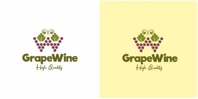 Grape Wine Letter W Logo