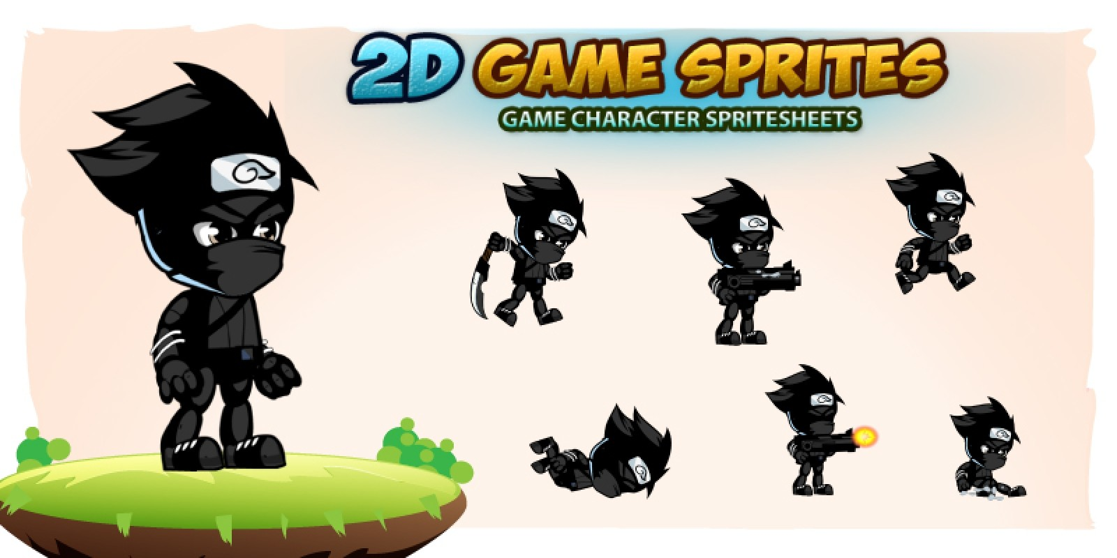 Shadow Ninja  2D Game Character Sprites