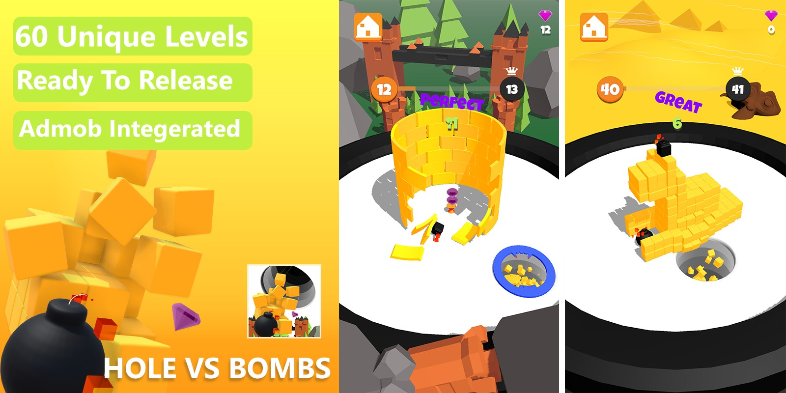 Hole vs Bombs Game - Unity Complete Project With Admob Ads for Android and iOS