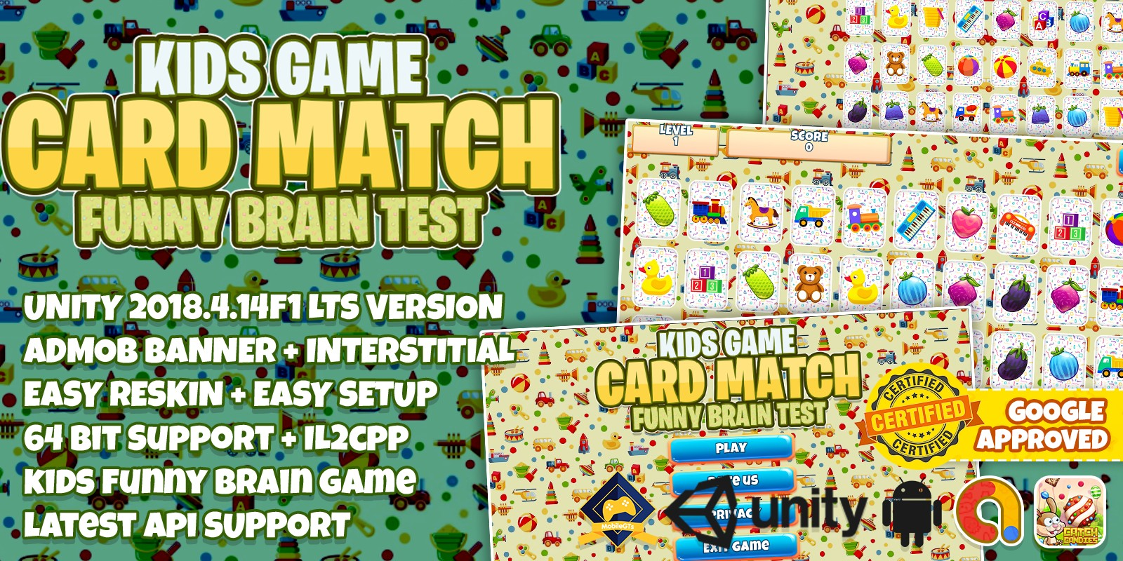 Kids Game Card Match - Unity Full Project