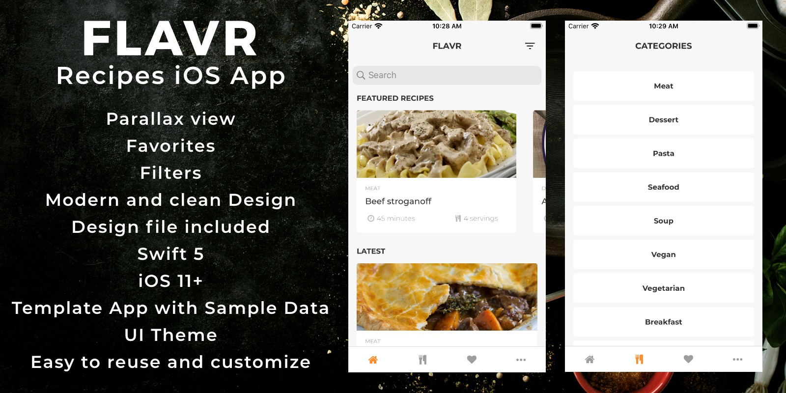 Flavr - Recipes iOS App Template