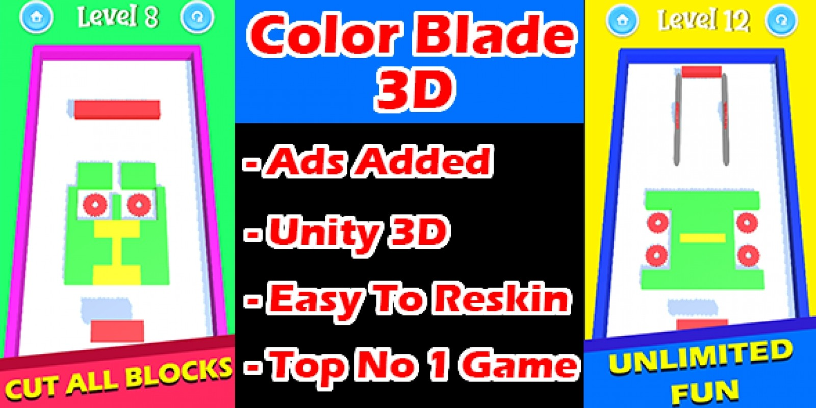Color Blade 3D Game Unity Source Code