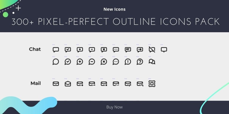 300 Pixel-Perfect Outline Icons Pack