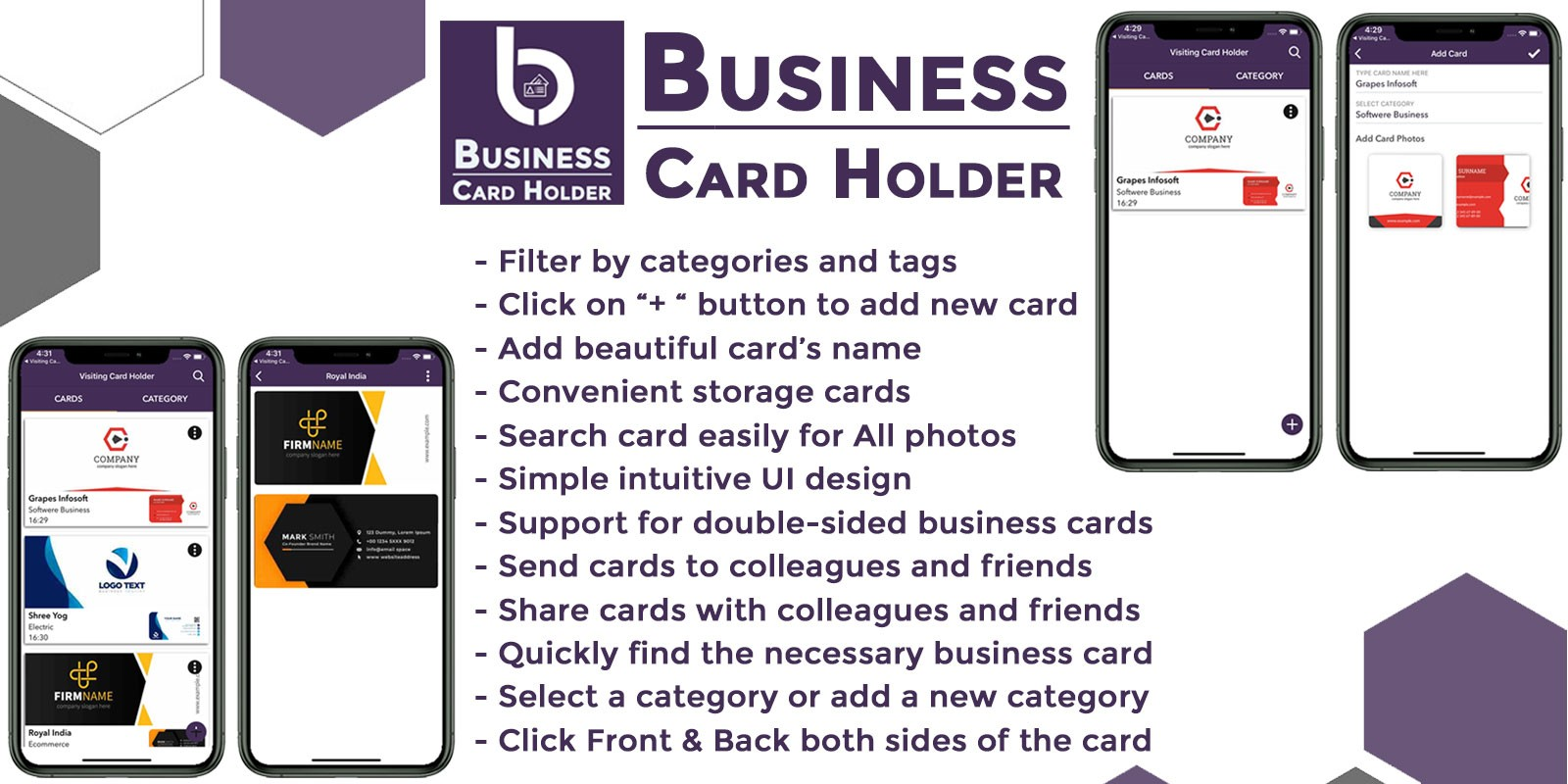 Business Card Holder iOS Swift