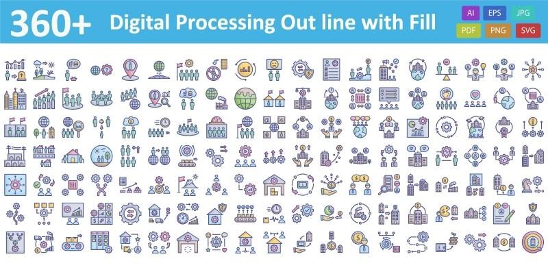 Digital processing Vector icon