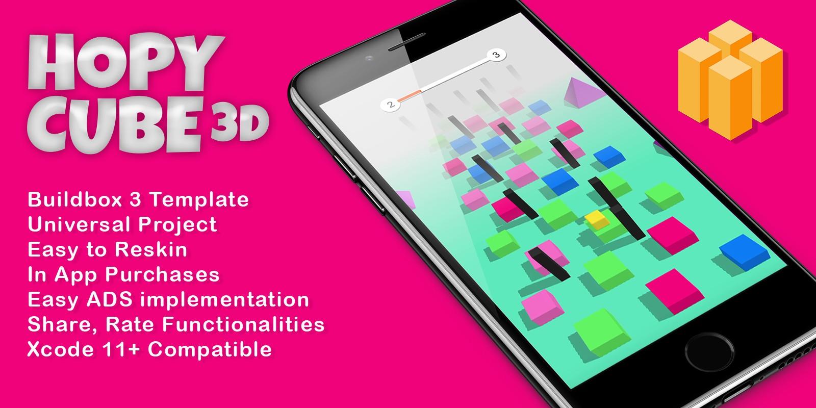 HopyCube 3D - Buildbox Template