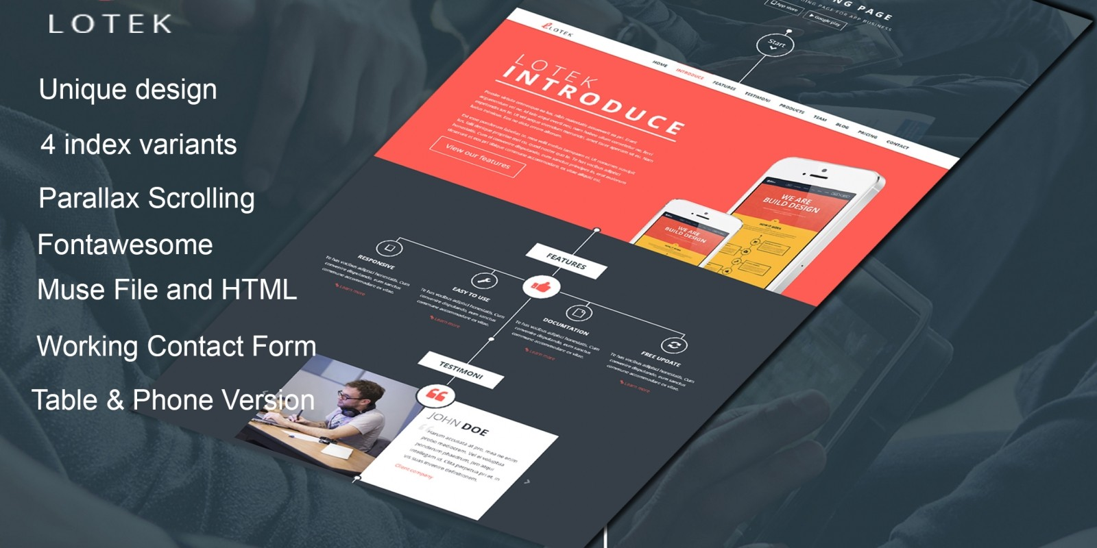 Lotek - Responsive Html App Landing Page Template